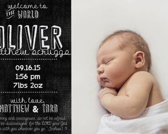 PRINTABLE Birth Announcement Download: Custom Chalkboard Photo Birth Announcement