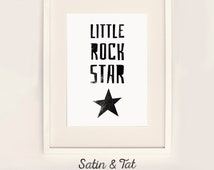 Little Rock Star, print or canvas - Nursery art, boy's room art, girl's room art, kids room art,  Choose any size - Choose any colour.
