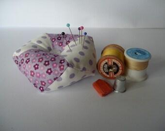 Lilac floral and polka dot patchwork biscornu pincushion