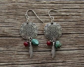 Silver Feather Earrings / Mandala Earrings / Floral Earrings