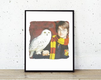 Harry Potter and Hedwig Poster - Harry Potter Watercolor Painting Instant Download - Harry Potter Poster, Hedwig Owl Print - Printable Art