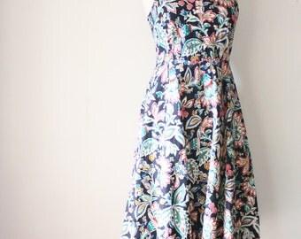 Vintage Tank Dress, Indian floral Cotton dress Sun dress Summer dress Full skirt Ethnic pattern Japanese vintage, Small 3444