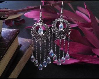 Dream Catcher Earrings With Iridescent Glass - Chandelier Style Earrings - Tiered Earrings