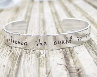Personalized bracelet, she believed she could so she did, silver motivational jewelry, aluminum cuff bangle, quote bracelet, gift for runner