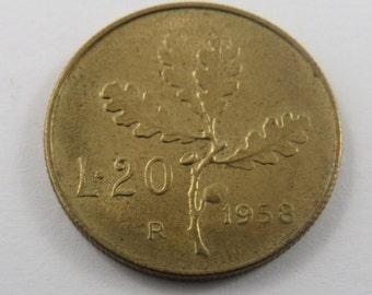 Italy 1958 20 Lire Coin.