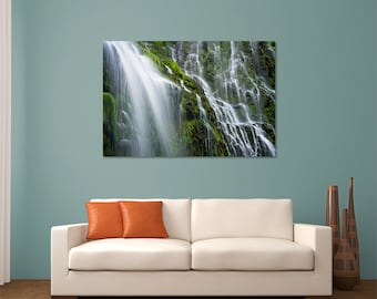 Metal Wall Art, Photo Print, Proxy Falls Waterfall, Oregon, Pacific Northwest, Green Forest, Water, Moss, Landscape Nature Photography