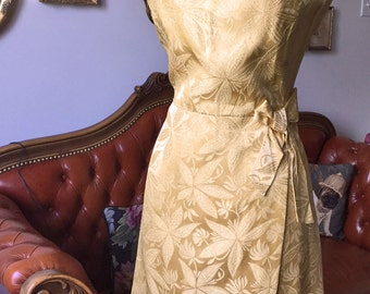"1950s Evening Dress - Vintage Gold Brocade Dress - Small 27"" - Vintage Cocktail Dress With Bow Detail And Faux Wrap - Gold Sparkle"