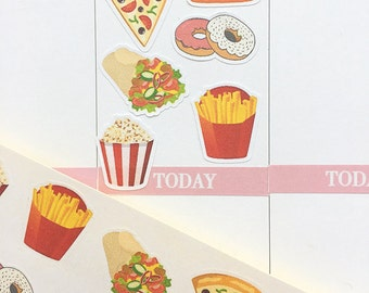 Fast Food Stickers, Cheat Day Stickers, Meal Planner Stickers UK, Pizza Stickers for Erin Condren Lfe Panner, Meal MAMBI Stickers