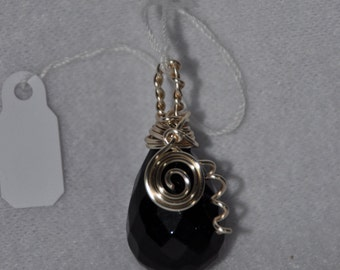 Onyx wire wrapped pendant