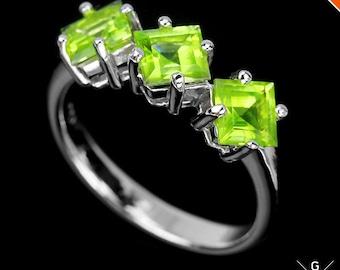 Peridot Silver Ring. Genuine Natural apple Green Peridot ring square facet Real 925 Sterling Silver Handmade Peridot jewelry Ring 6