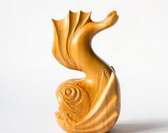 Wooden Koi Fish Statue, Wooden Koi Fish Figurine, Carved Koi Fish, Wood Carving, Wooden Statue, Wooden Figurine