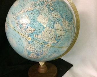 Vintage World Globe, Replogle World Nation Series, 12 inch diameter globe, Home decor, blue decor,geography decor, made in USA, DIY globe