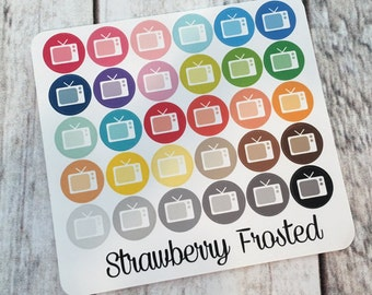 TV----Multicolor Icon Labels---Planner Stickers