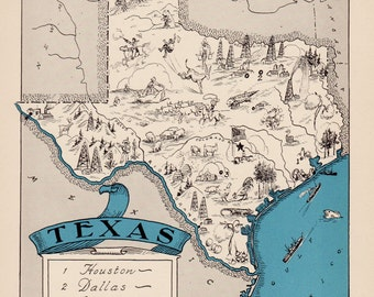 30's Whimsical TEXAS Map of Texas State Map Print Travel Map Gallery Wall Art Library Office Decor Map Collector Gift for Traveler