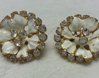 Vintage, SANDOR, floral, rhinestone earrings, 1950-1960