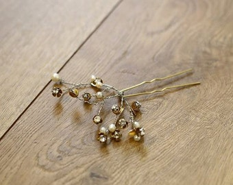Delicate brass floral hair pin || Wedding accessory || 002