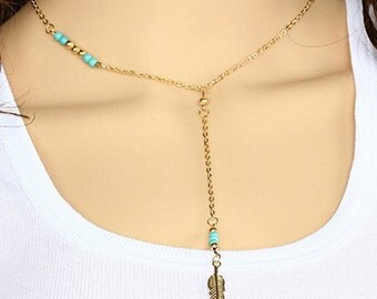 Long Feather Chain Necklace , Bead and Chain Necklace , Pendant Necklace , Turquoise Necklace , Cheap Jewelry