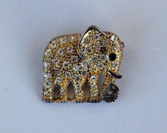 Rhinestone elephant brooch