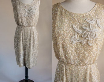 1960's fully sequined wiggle dress with beaded detailing