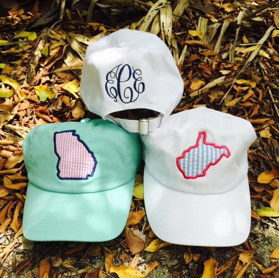 State monogram ball cap  ~ seersucker state hat ~ Monogram Hat ~ Bridesmaid Gift ~ Golf ~ Chambray hat ~ Monogram Baseball Hat