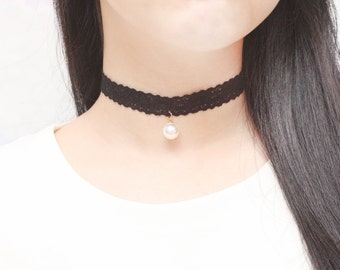 Black Lace Choker, White Pearl Choker, Womens Choker, Cute Choker, Lovely Necklace, Delicate Necklace, Beautiful Necklace, Gift Necklace