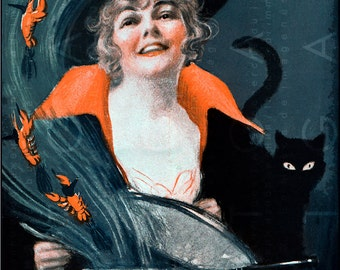 STUNNING FLAPPER WITCH & Her Black Cat ! Vintage Halloween Postcard. Art Deco Halloween Illustration. Digital Halloween Download.