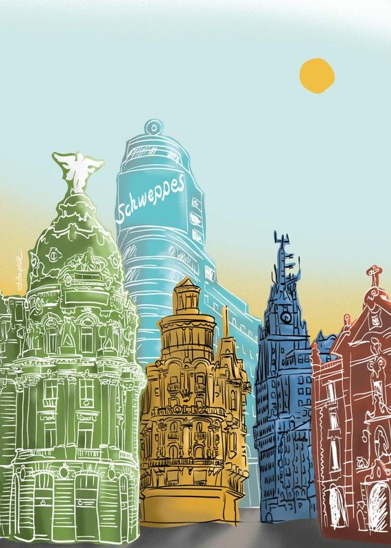 Madrid gran v a ilustraci n impresi n gicl e alta calidad - Laminas y posters madrid ...