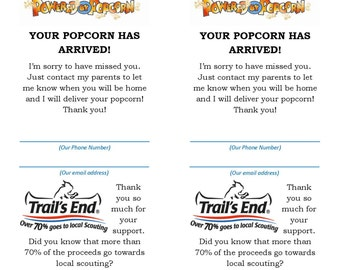 cub scout popcorn thank you for your support card