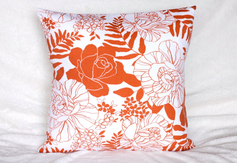 Orange Floral Pillow Cover Orange Throw Pillow Flower Accent