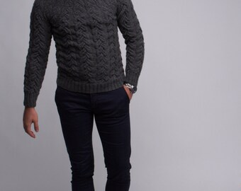 Men's Hand Knitted Sweater, Cable Knit Sweater, Men's Knitted Jumper, Men's Knit Sweater, Men's Knit Cable Sweater, Men's Gift