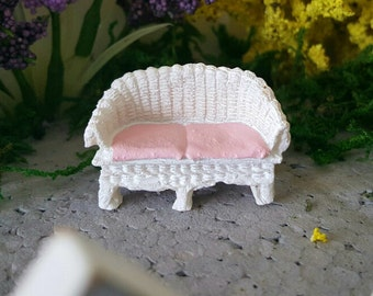 Miniature Teeny Wicker Settee Loveseat - Pink and White