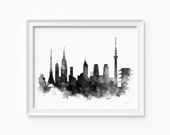 "Tokyo watercolor skyline, printable file (JPEG) download and print any size between 5""x7"" and 16""x20"", Art, Wall art, home decor"