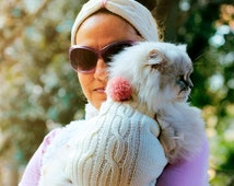 White sweater for cats, Matching clothes for pets and owners,Handmade knitting cat clothes,Puppies wear, White headband, Small dog clothes