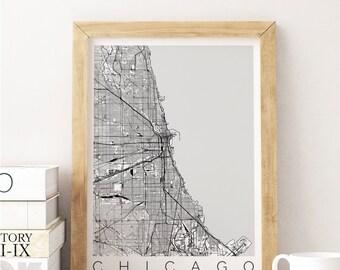 Map of Chicago - Chicago Map - Map ART - Chicago Poster - Gift for Boss - Gift for Hostess - Chicago Print - Scandinavian Art - Travel Map