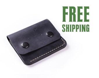 Small leather wallet | mini wallet | minimalism wallet | slim wallet | thin wallet | navy blue wallet | men's wallet | women's wallet