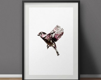 "Art print watercolor ""Bird"" A4"