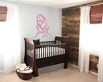 Alice in Wonderland Wall Decal/Alice in Wonderland Sticker/Story playroom decal/Girl room decor/nursery decal/cute girl in glitter vinyl