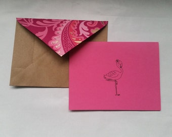Flamingo Handmade Recycled Stationery - Set of 10