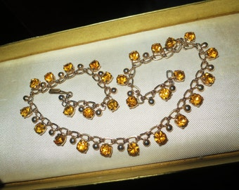 Vintage 1960s goldtone faceted amber glass rhinestone necklace