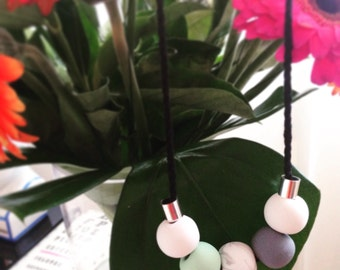 Mint and Marble Polymer Clay Necklace