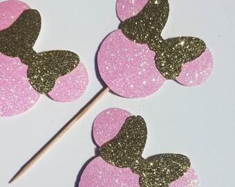 Minnie Cupcake Toppers, Cupcake Decorations,  Minnie Birthday Party, Minnie Party Decor, Dessert Buffet, Pink & Gold Minnie Decor