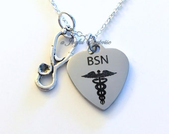 BSN Jewelry, BSN Nurse Necklace, Gift for BSN Nursing Student Silver Stethoscope Charm Man Men Women Woman Male birthday Christmas present