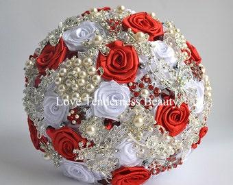 Silk Flowers Wedding Brooch Bouquet, Red and Silver Wedding Bouquet, Bridal Bouquet, Jewelry Bouquet, Broach Bouquet, Rhinestone Bouquet