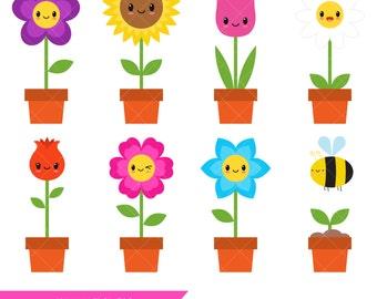 Kawaii Flowers Clipart / Happy Flowers / Smiley Flowers