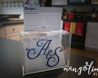 CUSTOM** Monogram recipe box & recipe cards