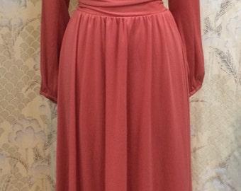 Vintage 1970s Rust Maxi Dress