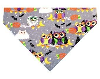 Halloween Dog Bandana Scarf - Sparkle Owls (Large) | Dog Bandanna, Dog Collar Bandana