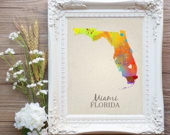 Miami Art, Miami Beach, Miami Bachelorette Gift, Miami Florida, Miami Map, Miami Print, Miami Wedding Gift, Instant Download Art Print