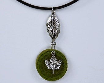 Necklace maple leaf necklace of green olive wood with silver leaf pendants autumn jewelry, unique wood Canada Green autumn