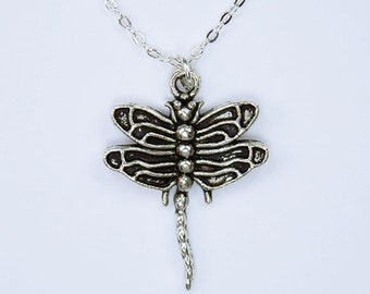 Large Dragonfly necklace pendant on silver chain jewelry Dragonfly insect